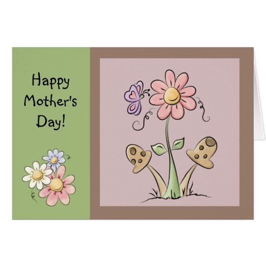 Cute Country Folk Flowers, Mushrooms and Butterfly Card