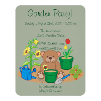 Cute Country Garden Party Bear Card