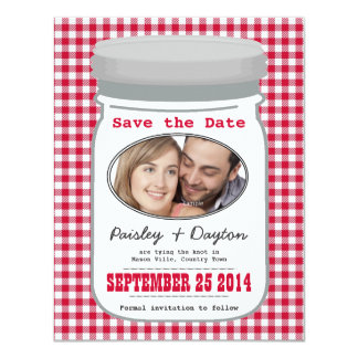 Cute Country Gingham Mason Jar Save the Date 4.25x5.5 Paper Invitation Card
