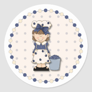 Cute country girl + bucket filled with blueberries classic round sticker