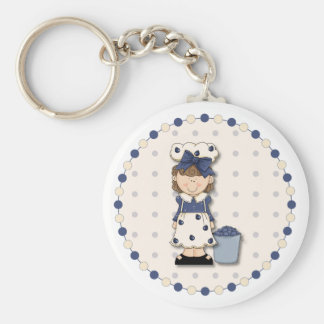 Cute country girl + bucket filled with blueberries keychain