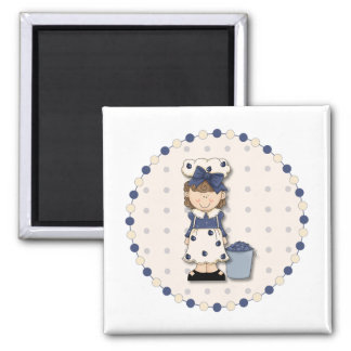 Cute country girl + bucket filled with blueberries refrigerator magnet