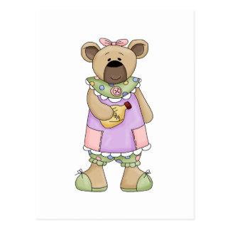 Cute Country Girl Teddy Bear Postcard