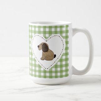 Cute Country Green Gingham Patchwork Dog Coffee Mug