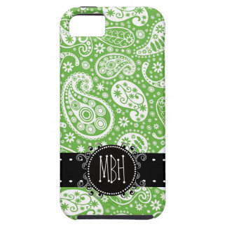 Cute Country Green Paisley with Personalization iPhone 5 Case