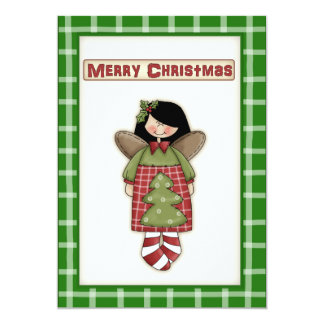 Cute Country Kitsch Christmas Angel Party Invite