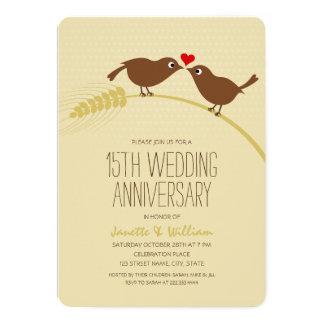 Cute Country Love Birds 15th Wedding Anniversary Card
