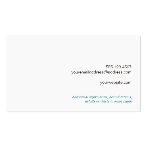 Cute Country Nature Weathered Turquoise Wood Business Card Templates (back side)