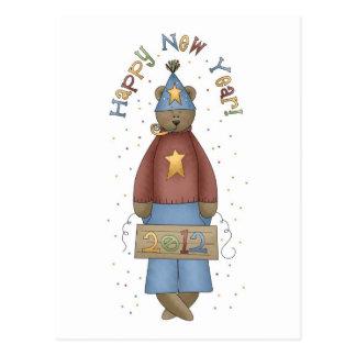 Cute Country New Year Teddy Bear Postcard
