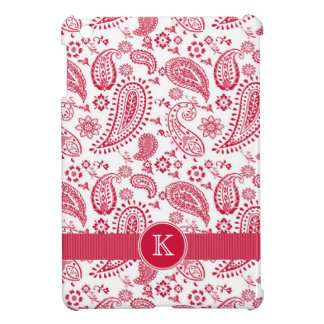 Cute Country Paisley  Red and White with Monogram iPad Mini Cover