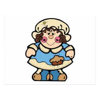 cute country pilgrim girl post card