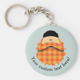 Cute Country Plaid Bright Orange Bearded Character Keychain