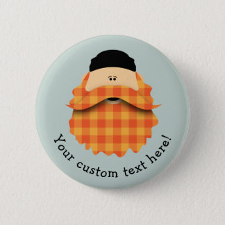 Cute Country Plaid Bright Orange Bearded Character Pinback Button