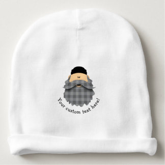 Cute Country Plaid Charcoal Gray Bearded Character Baby Beanie