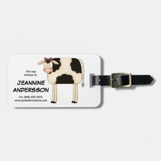 Cute Country Prim Folkart Lady Cow Bag Tag
