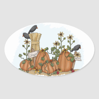 Cute Country Pumpkins and Crows Fall  Illustration Oval Sticker