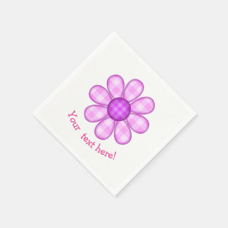 Cute Country Purple Pink Plaid Graphic Flower Icon Napkin