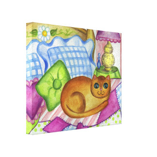 Cute Country Quilt Orange Cat Canvas Wall Art