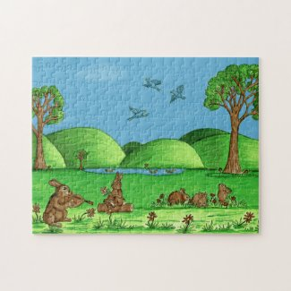 Cute Country Rabbits Jigsaw Puzzle with Gift Box