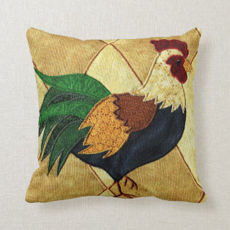 Cute Country Rooster Quilted Look Throw Pillow