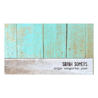 Cute Country Rustic Weathered Turquoise Wood Double-Sided Standard Business Cards (Pack Of 100)