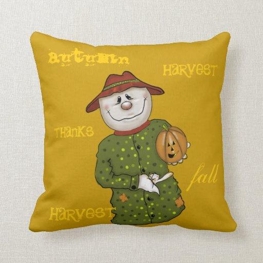 Cute Country Scarecrow Folk Art Throw Pillows