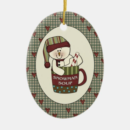 Cute Country Snowman Soup Christmas Cup Ornaments