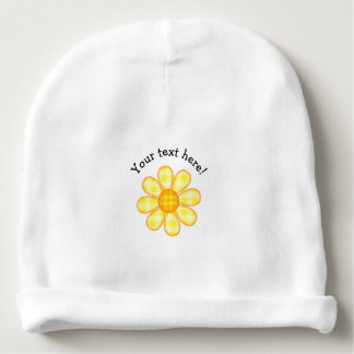 Cute Country Soft Yellow Plaid Graphic Flower Icon Baby Beanie
