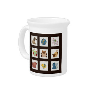 Cute Country Style Baby Animals Quilt Beverage Pitcher