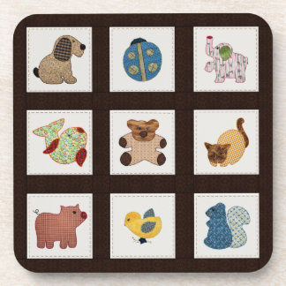 Cute Country Style Baby Animals Quilt Drink Coaster
