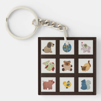 Cute Country Style Baby Animals Quilt Keychain