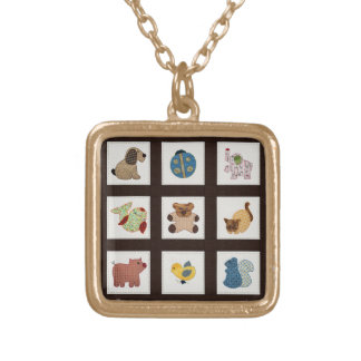 Cute Country Style Baby Animals Quilt Square Pendant Necklace