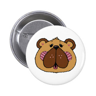 cute country style bear face pinback button