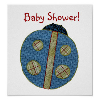 Cute Country Style Blue Ladybug Baby Shower Poster
