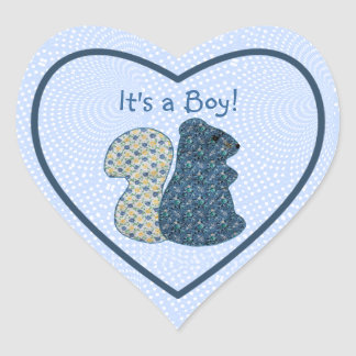 Cute Country Style Blue Squirrel Baby Boy Heart Sticker