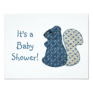Cute Country Style Blue Squirrel Baby Shower Card