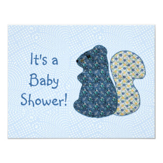 Cute Country Style Blue Squirrel Baby Shower 4.25x5.5 Paper Invitation Card