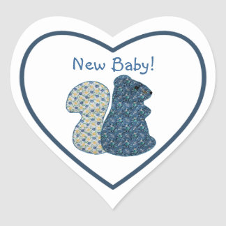 Cute Country Style Blue Squirrel New Baby Heart Sticker
