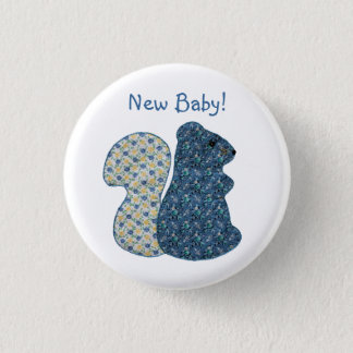 Cute Country Style Blue Squirrel New Baby Pinback Button