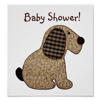 Cute Country Style Gingham Dog Baby Shower Poster