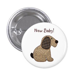 Cute Country Style Gingham Dog New Baby Button