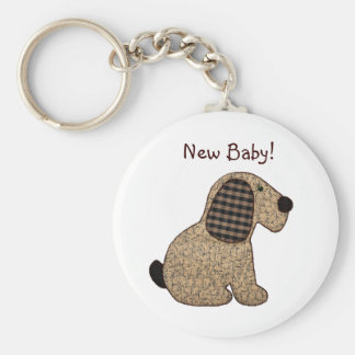 Cute Country Style Gingham Dog New Baby Keychain