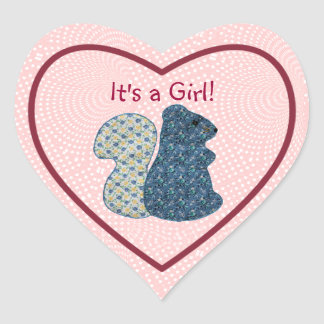 Cute Country Style Its a Girl Blue Squirrel Heart Sticker