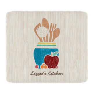 Cute Country Style Kitchen Utensils With Name Cutting Board