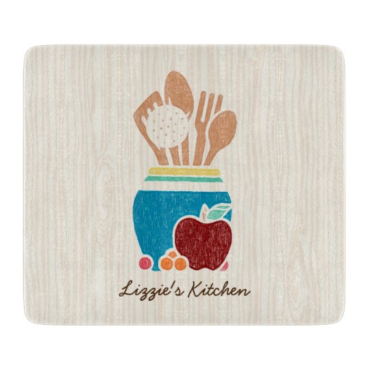 Cute Country Style Kitchen Utensils With Name Cutting Board Zazzle