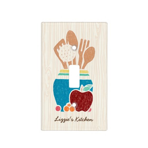 Cute Country Style Kitchen Utensils With Name Light Switch Plate Zazzle
