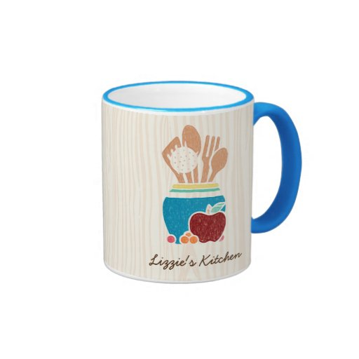 Kitchen Styles Names: Cute Country Style Kitchen Utensils With Name Ringer Mug