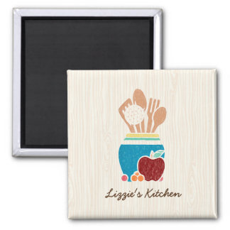 Cute Country Style Kitchen Utensils With Red Apple 2 Inch Square Magnet