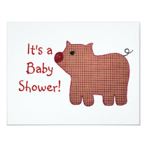 Cute Country Style Pink Plaid Pig Baby Shower Invitation