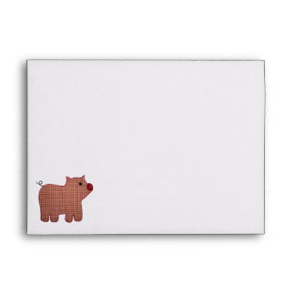 Cute Country Style Pink Plaid Pig Envelopes